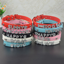 10MM Bling Personalized Pet Dog Collar with Rhinestone Letters and Charm Free Puppy Cat Dog Collars(China)