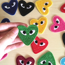 wholesale 30pcs Japan iron on patches for clothing brand logo embroidery patch red heart applique badges