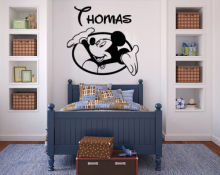 carton Mickey Mouse Wall Decals Personalized Name Sticker Vinyl Baby Room Nursery free shipping