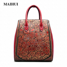 MAIHUI designer handbags high quality shoulder bags new chinese style Top-handle bag cowhide real genuine leather women tote bag(China)