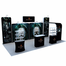 20ft Portable Tension Fabric Trade Show Displays Booths Pop Up Stand Banners With Counter Product Shelves TV Bracket Spotlights