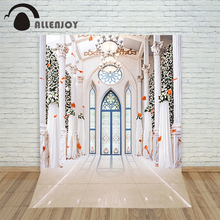 Allenjoy wedding photography backdrops Romantic beautiful white church doors windows blinds Photocall for weddings background