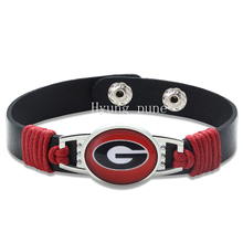 6pcs/lot! Georgia Bulldogs Adjustable Genuine Leather Bracelet for Men Women Fashion Snap Button Charm Leather Cuff Jewelry