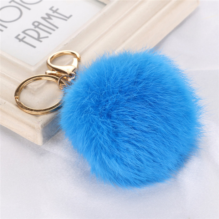 8CM Fluffy Pompom Real Rabbit Fur Ball Key Chain Women Trinket Pompon Hare Fur Toy keyring Bag Charms Ring Keychain Wedding Gift (10)