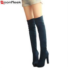 Plus size 34-46 new fashion platform over the knee boots thick high heels round toe suede thigh high winter suede long boots