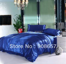 luxurious Smooth Shiny imitated silk satin fabric girls bedding blue color comforter queen/full duvet covers bed linen sheet set