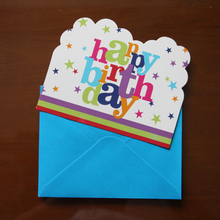6psc Cards+6pcs Envelops Happy birthday Design Invitation Card Envelope Shape for kid Birthday Party Decoration