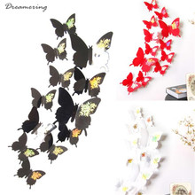 Dreamering New Fashion Cotton Wall Stickers Decal Butterflies 3D Wall Art Home Decors perfect gift Free Shipping,Oct 17