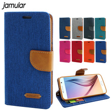 JAMULAR Canvas Cell Phone Case For Samsung Galaxy S6 Edge Plus Luxury Jean Case Cover Wallet For Samsung S6 Capa Fundas(China)