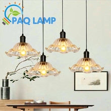 Modern pendant light Clear flowers glass LOFT sitting room lamp The restaurant cafe shop decoration LED light fixture