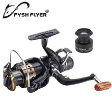 Carp Spinning Fishing Reels, Wooden Handle Metal Spool, 9+1BB, Stainless steel Shaft, Rear Drag, 1 Spare Plastic Spool