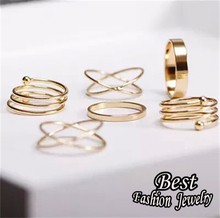Golden Plated Slender Finger Ring Set 6 Pieces Simple Party Accessory For Girls Newly Jewelry For Female