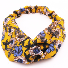 Metting Joura Summer Vintage Ethnic Yellow Sun Flower Headband For Women & Girls Elastic Cross Hair Band Hair Accessories