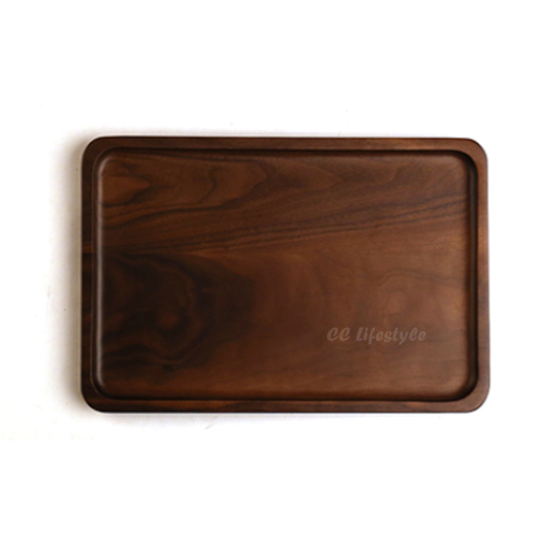 Cutlery coffee Tray dishes Black Walnut Belt Handle Dessert  Wholesale Custom Kitchen Tableware<br>