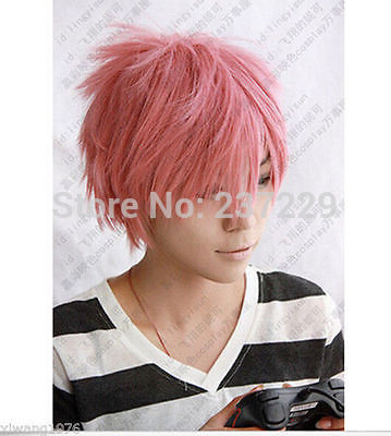 CS85&amp;Wholesale 238w ***Hot Sell! Cosplay party Wig, Beautiful boy smoke pink Short Wigs y Wig<br><br>Aliexpress