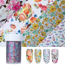 1 Roll 4*100cm Colorful Holographic Starry Nail Foil Flower Manicure Nail Art Transfer Sticker Nine Sizes Avaiable(China)