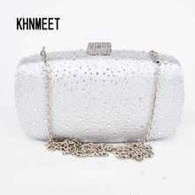 Women Solid white satin Box Clutch Mini Hardcase Metal Clutches Evening silver Shoulder Bag Transparent Party Dinner Handbag 10