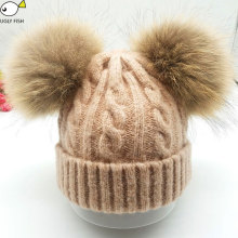 raccoon fur hat for children1 to 3 years old fur winter hats for girls children baby hats(China)