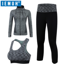 IEMUH Women Sport Yoga Set Gym Running Sport Suit Elasticity Fitness Clothing Workout Sport Wear Sports Bra+Pants+Jacket