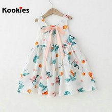 2017 Summer Fashion Dress Kids Sleeveless Lace Up Bow Dresses Floral Flowers Backless Dress Cheap Clothes Robe Fille KKD969(China)