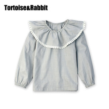 Kids Girls Blouse Fashion Shirts Clothes For Girls Kids Children Cotton Ruffle Clothes Long Sleeves Plaid Blouses For 3-9Ys