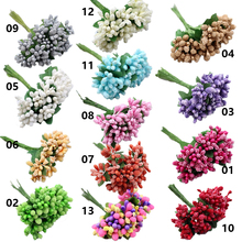 Cheap 12pcs Artificial Stamen Flower For Wedding Home Decoration Pistil DIY Scrapbooking Garland Craft Fake Flowers(China)