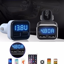4.8A Dual USB Car Charger Adapter LED Display Fast Charging For iPhone For Samsung -R179 Drop Shipping