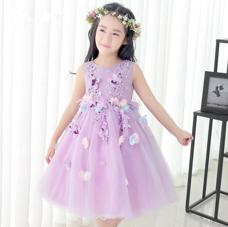 2018 Summer New Arrival Violet Tulle Exquisite Flower Princess Girl Dress Baptism Party Wedding Birthday Gown Kids tutu Dress<br>