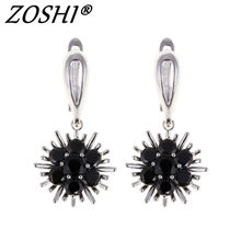Buy Jewelry Fashion Drop Earrings brincos Cute Flower Pendientes Stone Black Crystal Dangle Earrings Women Party Free for $2.53 in AliExpress store