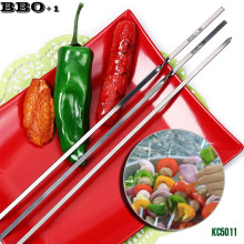 New 10 pcs 17.7in (45cm) Stainless steel Flat BBQ Sticks Barbeque Skewers Kebab BBQ Stickers Grill Barbecue Accessories KC5011