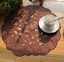 Classic Lace Brown embroidery placemat round cup coaster tea mug kitchen drink table place mat cloth Crochet doilies dining pad(China)