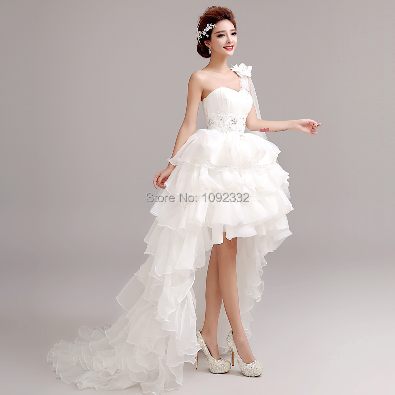Popular One Shoulder High Low Wedding Dress-Buy Cheap One Shoulder ...