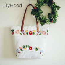 LilyHood Women Canvas Embroidered Handbags Etsy Handmade Vintage Rustic Wedding Shabby Chic Bohemian Top-Handle Fabric Tote Bag