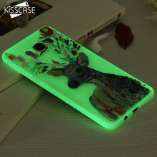 KISSCASE Luminous Cover For Samsung Galaxy J5 A5 J7 A7 2016 J3 Case Transparent Art Painting Phone Case For Samsung J5 A5 2016(China)