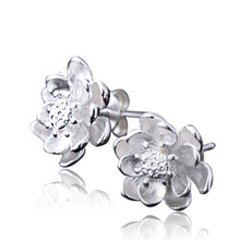 PATICO Elegant Women 925 Sterling Silver Stud Earrings High Quality Cubic Zircon Flower Design Earrings Jewelry Wholesale