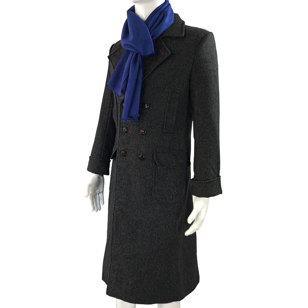Cosplay Sherlock Holmes Cape Coat Costume Wool Long Jacket Outfit With Scarf New5