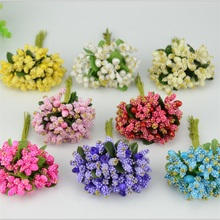 12PCS/lot Pe Mini Mulberry party Artificial Flower Stamen wire stem/marriage leaves Small stamen wedding box decoration Supplies