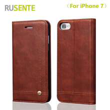 RUSENTE High quality Wallet Leather Phone Cover Case for iPhone 7 Luxury Flip Phone Holder Case For apple iPhone7