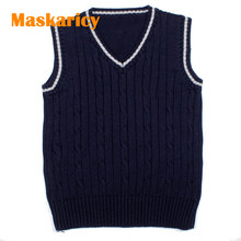 2017 Kids Knitted Sweaters Vest Boy Clothes Cotton Sleeveless Jumper Children V-neck Waistcoat Outwear Clothing Sweater For Girl(China)