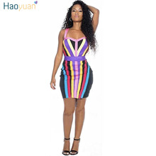 Buy HAOYUAN Women Summer Sexy Dress Night Club Vestido V Collar Bandage Striped Dresses Backless Spaghetti Strap Tight Bodycon Dress for $11.99 in AliExpress store