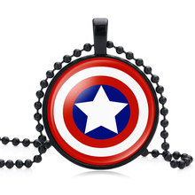 NingXiang Black Color Captain America Bat Man Spider Man Iron Man Super Hero Glass Cabochon Round Pendant Necklace Jewelry Gifts(China)
