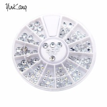 1.5mm Silver Transparent Wheel Round Glitter Nail Art Rhinestones Decorations For Nails Tools Silver Nail Rhinestone Decoration