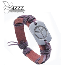 Triple Wraps Cool New Men&Women Studded The Plane Circle Pendant Leather Wrap Bracelet Wristband Cuff(China)