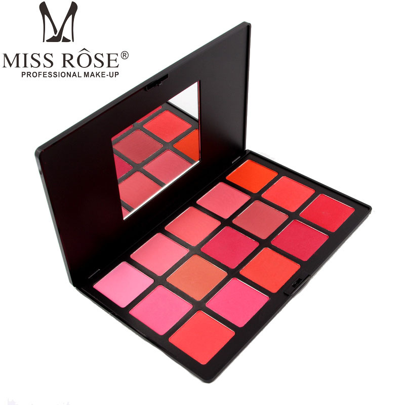 Free Shipping 15Colors Pro Blush Palette Cheek Makeup Red Blush Natural Mineral Blusher Rose pink Powder palette benifit makeup(China)