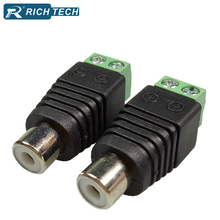 8pcs RCA connector AV Balun Phono Female RCA Jack adapter CAT5 to CCTV Camera retail cable Terminal Block to RCA wire connector(China)