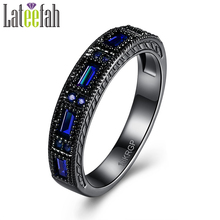 Lateefah Fashion Black Gold Color Stackable Finger Ring Rectangle Blue Stone Rings for Girl Antique Wedding Band Bijoux Anel