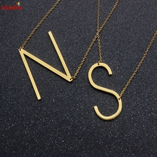 26 Letter Shape Pendant Necklace Simple Design Gold Color Charm For Women Fashion Jewelry Accessories Birthday Gifts N O P Q R S