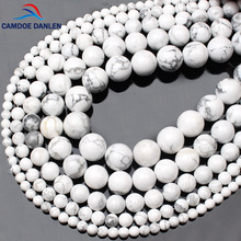 CAMDOE DANLEN Natural Gem Stone White Howlite Turquoises Beads 4 6 8 10 12 14MM Bracelet Fit Diy Charm Beads For Jewelry Making(China)