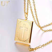 U7 Cross Locket Necklace Silver/Gold Color Trendy Jewelry Memory Photo Locket Necklaces Pendants For Women/Men Gift P316(China)