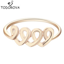 Todorova Gold Romantic Love Heart Finger Rings for Women Wedding Engagement Rings Female Brand Jewelry Alibaba Retail Store